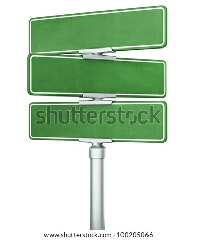 3d rendering of three blank signs stacked ontop of eachother - stock photo