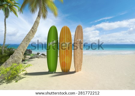 3D rendering of three colorful surf boards on a tropical beach. Fake inexistant brand names and symbols - stock photo