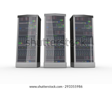 3d rendering of three powerful computer networking servers system machine - stock photo