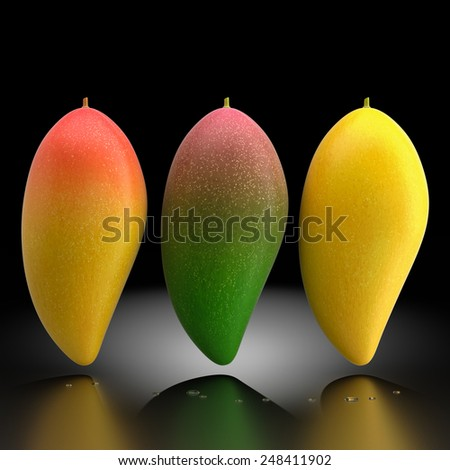 3d rendering of three types of mango fruit. - stock photo