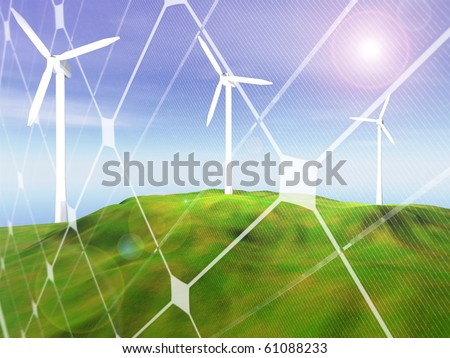3D rendering of three wind turbines  on a hilly landscape with photovoltaic panel pattern - stock photo