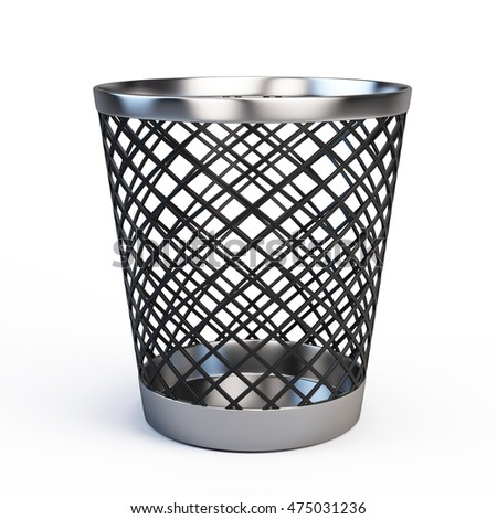 3d rendering of trash can isolated on white