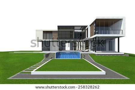 3D rendering of tropical house exterior isolated on white with clipping path. - stock photo
