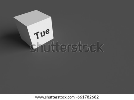 3 D RENDERING Tue ABBREVIATION TUESDAY ON Stock Illustration ...
