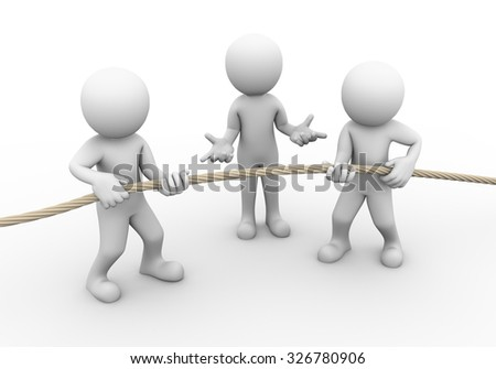 3d rendering of tug of war among man person while another guy with no idea expression. Concept of conflict and dispute between couple