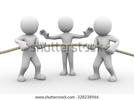 3d rendering of tug of war among two person while another stopping them. Concept of conflict and dispute between couple. - stock photo