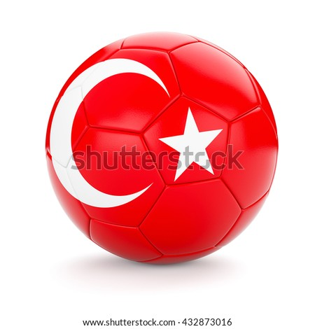 3d rendering of Turkey soccer football ball with Turkish flag isolated on white background - stock photo