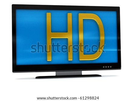 3D rendering of tv,lcd monitor on white - stock photo