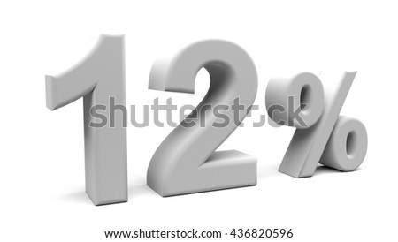 3D rendering of twelve percents text, with big fonts isolated on white background.