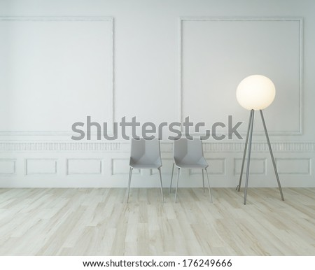3D Rendering of two chairs against white wall with floor lamp - stock photo