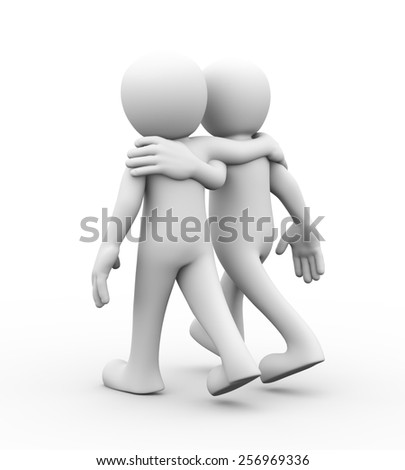 3d rendering of two friends walking together.  Concept of friendship, help, support, love. 3d white person people man - stock photo