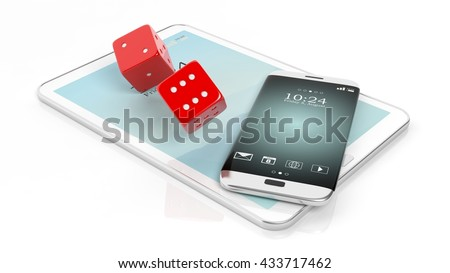 3D rendering of  two red dices with smartphone and tablet, isolated on white.