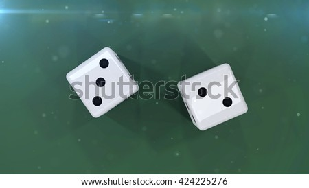 3D rendering of Two white dices on a green background showing a five isolated