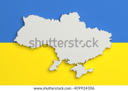 3d rendering of Ukraine map and flag on background. - stock photo