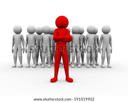 3d rendering of unique person leading his team. 3d white people man character and concept of leadership, teamwork, success - stock photo