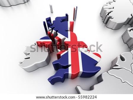 3d rendering of United Kingdom - stock photo