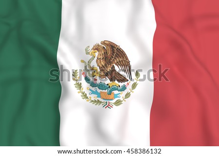 3d rendering of United Mexican States flag waving