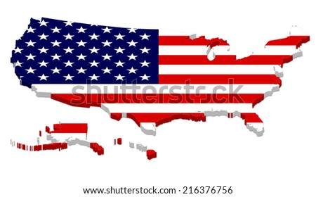 3D rendering of USA map with flag overlay, including Alaska and Hawaii. Isolated on white background.
