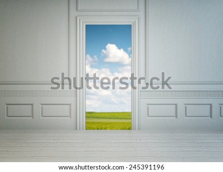 3D Rendering of View from inside through an open door in a classic white paneled room with a garden view of a lush green lawn under a cloudy blue summer sky - stock photo