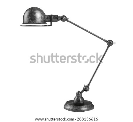 3D rendering of Vintage black table lamp on white background. - stock photo