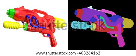 3D rendering of Water gun isolated on white background with id color for fully edit content. - stock photo