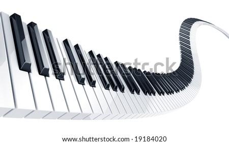 3d rendering of wavy piano keys - stock photo