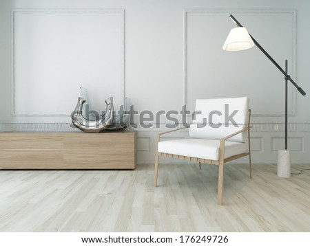 3D Rendering of white chair in a  sunny room with floor lamp - stock photo