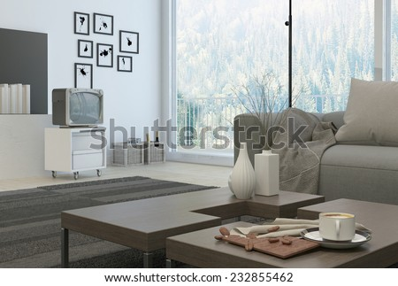 3D Rendering of White Coffee cup and decorative vases on wooden table at the architectural living room with television at the side near the wall. - stock photo