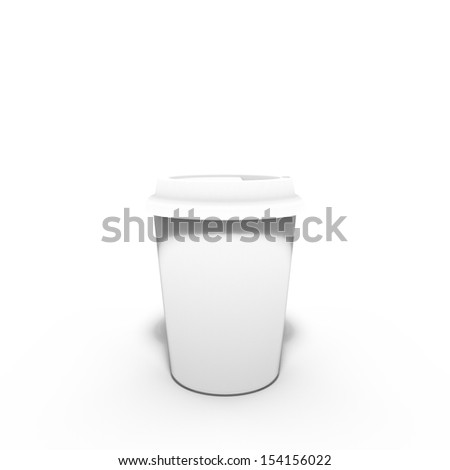 3d rendering of white coffee cup isolated on white background
