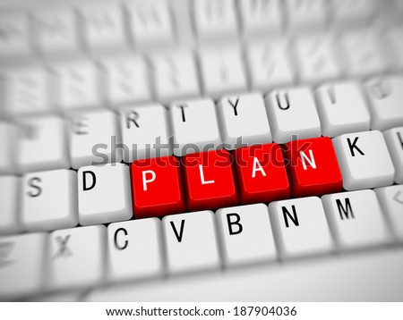 3d rendering of white computer keyboard with red button of word plan