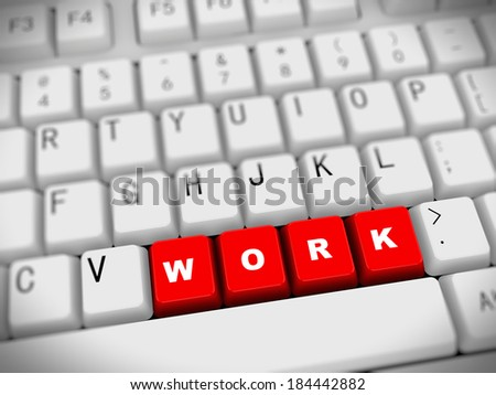 3d rendering of white computer keyboard with red work button