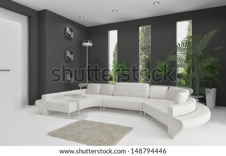 3D rendering of white couch against gray wall - stock photo