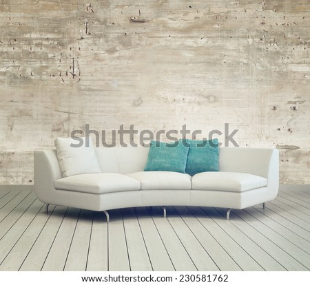 3D Rendering of White Couch Furniture on Cozy Living Room with Unfinished Wall Background Design and Wooden Floor. - stock photo