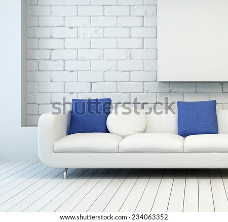 3D Rendering of White Couch with White and Blue Pillows at Architectural Living Room with White Wall and Flooring. - stock photo