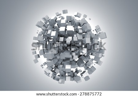 3D rendering of white cubes. Sci-fi background. Abstract sphere in empty space. Futuristic shape. - stock photo