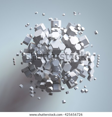 3D rendering of white hexagonal prism. Sci-fi background. Abstract sphere in empty space. - stock photo