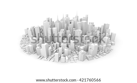 3d rendering of white rounded city - stock photo
