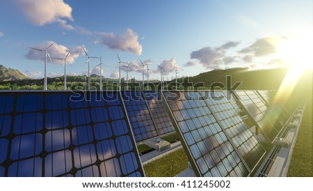 3D rendering of Wind Power and Solar Energy - stock photo