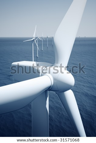 3d rendering of windturbines on the ocean - stock photo