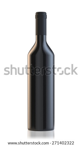 3d rendering of wine bottle isolated on white background