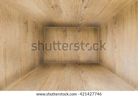 3D rendering of wood wall and wood floor. 3D room Background.