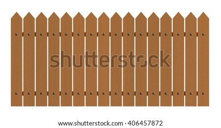 3d rendering of wooden fence isolated over white background - stock photo