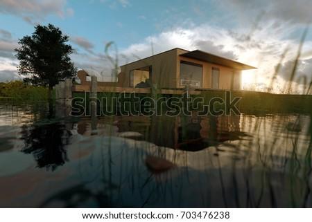 3 D Rendering Wooden House Flat Roof Stock Illustration 703476238    Shutterstock