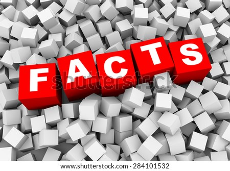 3d rendering of word text facts and abstract cubes boxes background - stock photo