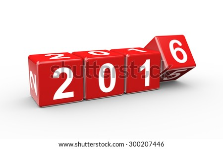 3d rendering of year 2015 cubes changing to happy new 2016 - stock photo