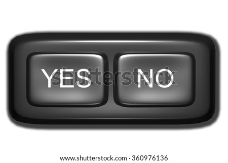 3d rendering of Yes and No black buttons.Illustration - stock photo