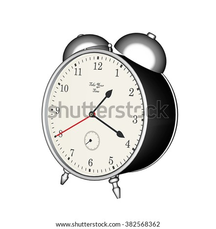 3D rendering, old fashioned table clock with alarm
