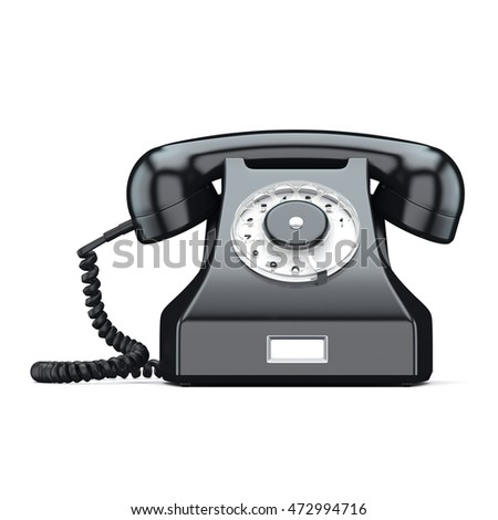3D rendering old red phone on a white background