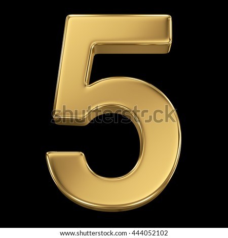 3d rendering, olden shining metallic number collection - five, isolated on black - stock photo