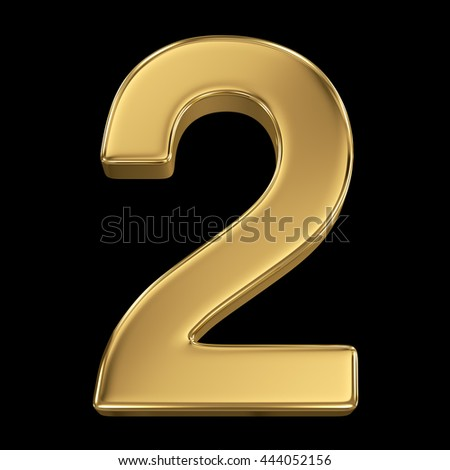 3d rendering, olden shining metallic number collection - two, isolated on black